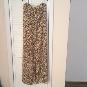 Guess. Strapless leopard maxi dress